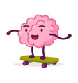 pink brain riding skateboard funny human nervous vector image