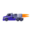 racing turbo truck with flame fast heavy vehicle vector image vector image