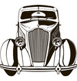 retro car front view black sketch vector image vector image