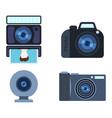 retro photo camera set vector image
