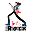 rock singer musician isolated on white vector image vector image