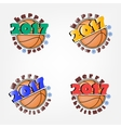 set basketball and new year vector image