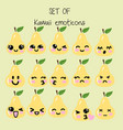 set of kawaii emoticons cute pear vector image vector image