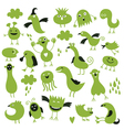 set of little green monsters vector image vector image