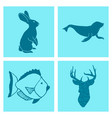 set of wedding icons theme drawing fishes animals vector image vector image