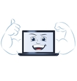 Smiling powerful laptop computer 2 vector image vector image
