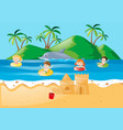 summer theme with kids swimming in ocean vector image