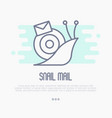 thin line icon of snail mail with envelope vector image vector image