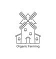 thin line organic farming logo with windmill vector image vector image