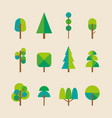 trees collection in flat style vector image vector image
