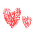 two hand drawn love red hearts pencil style vector image vector image