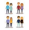 winter clothes with couples with sweaters one with vector image