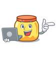 with laptop cream jar character cartoon vector image