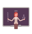Woman against the blackboard with drawn queen vector image vector image