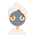 woman with facial mask on white background vector image vector image