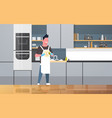 young man washing dishes guy wiping plates doing vector image