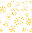 hand drawn sun icon seamless pattern background vector image