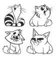 set of cartoon cats outlined vector image