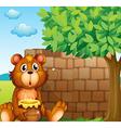 A bear with honey near a pile of bricks vector image vector image