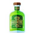 absinthe bottle beverage flat icon sign vector image vector image