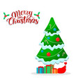 beautiful christmas tree with garland snow gifts vector image vector image