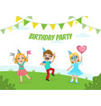 birthday party banner template cute boys and vector image vector image