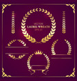 bright set gold laurel wreaths on dark vector image