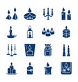 candle silhouette icons set in flat style vector image vector image
