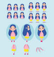cartoon character animation little girl with blue vector image