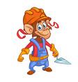 cartoon construction worker monkey vector image