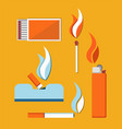 cigarettes matches and cigar lighter card vector image