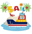 cute sailor cartoon on the boat vector image