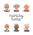 elderly people avatar set portraits old people vector image