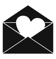 Envelope with Valentine heart icon simple style vector image vector image