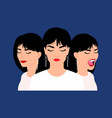 female heads with diversity emotions vector image vector image
