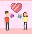 flat couple makes gift to each other on valentines vector image