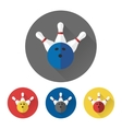 Flat skittles and bowling ball icons vector image vector image