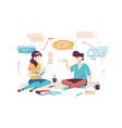flat young woman and man employee with notebook vector image vector image