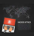 global hacker attack world map vector image