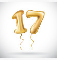 golden number 17 seventeen metallic balloon party vector image