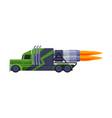green flaming racing truck turbo heavy vehicle vector image vector image