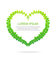 Green leaf heart shape isolated on white vector image vector image