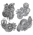 Grey original hand draw line art ornate flower vector image