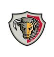 half bull half lion head shield mascot vector image vector image