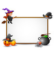 halloween sign with witch spider and pumpkin vector image