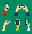 hand holds smartphone set watching video content vector image vector image