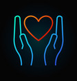 heart in hands colored linear icon or sign vector image vector image