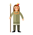 Indian with a spear Flat style colorful vector image