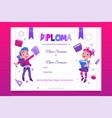 kids school diploma happy children with books vector image vector image
