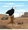 Lifeless desert and eagle on tree vector image vector image